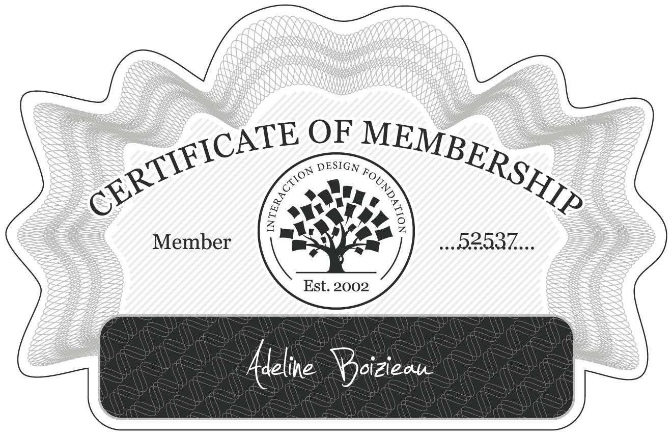 Boizieau Adeline: Certificate of Membership