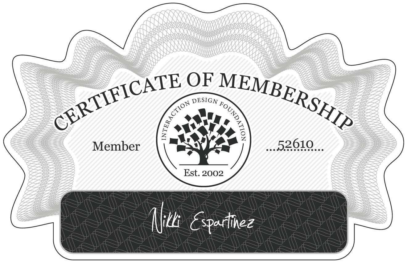 Nikki Espartinez: Certificate of Membership