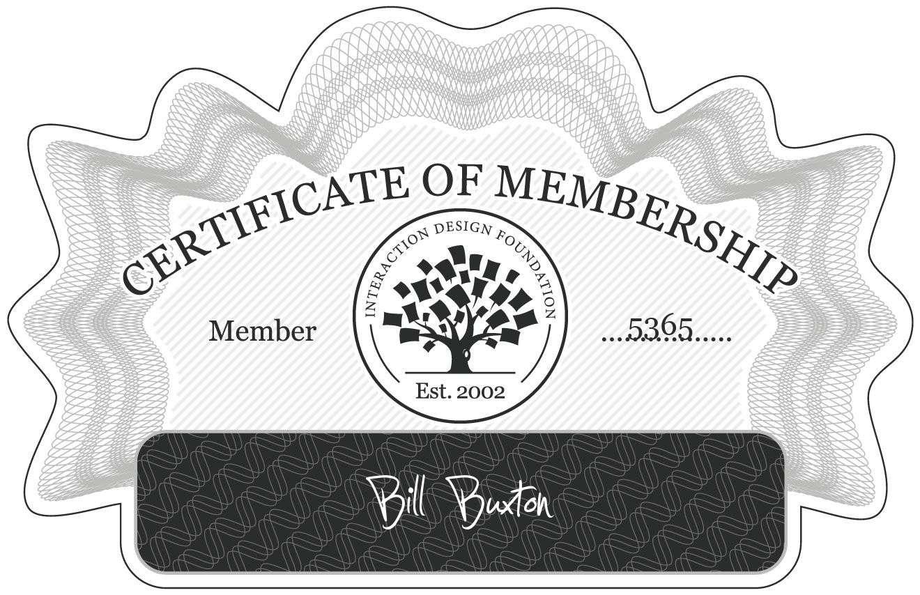 Bill Buxton: Certificate of Membership