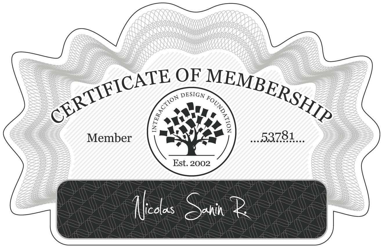 Nicolas Sanin R.: Certificate of Membership