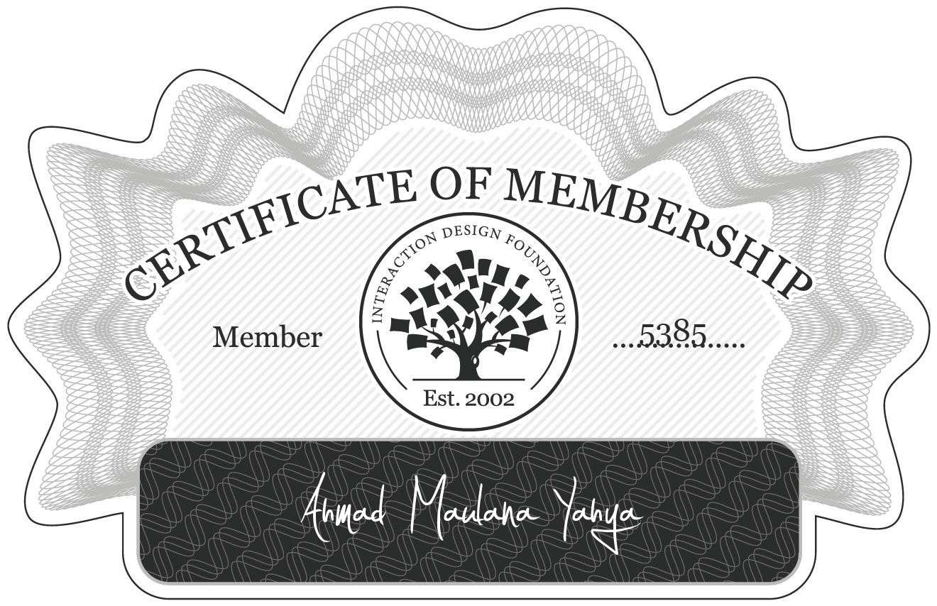 Ahmad Maulana Yahya: Certificate of Membership
