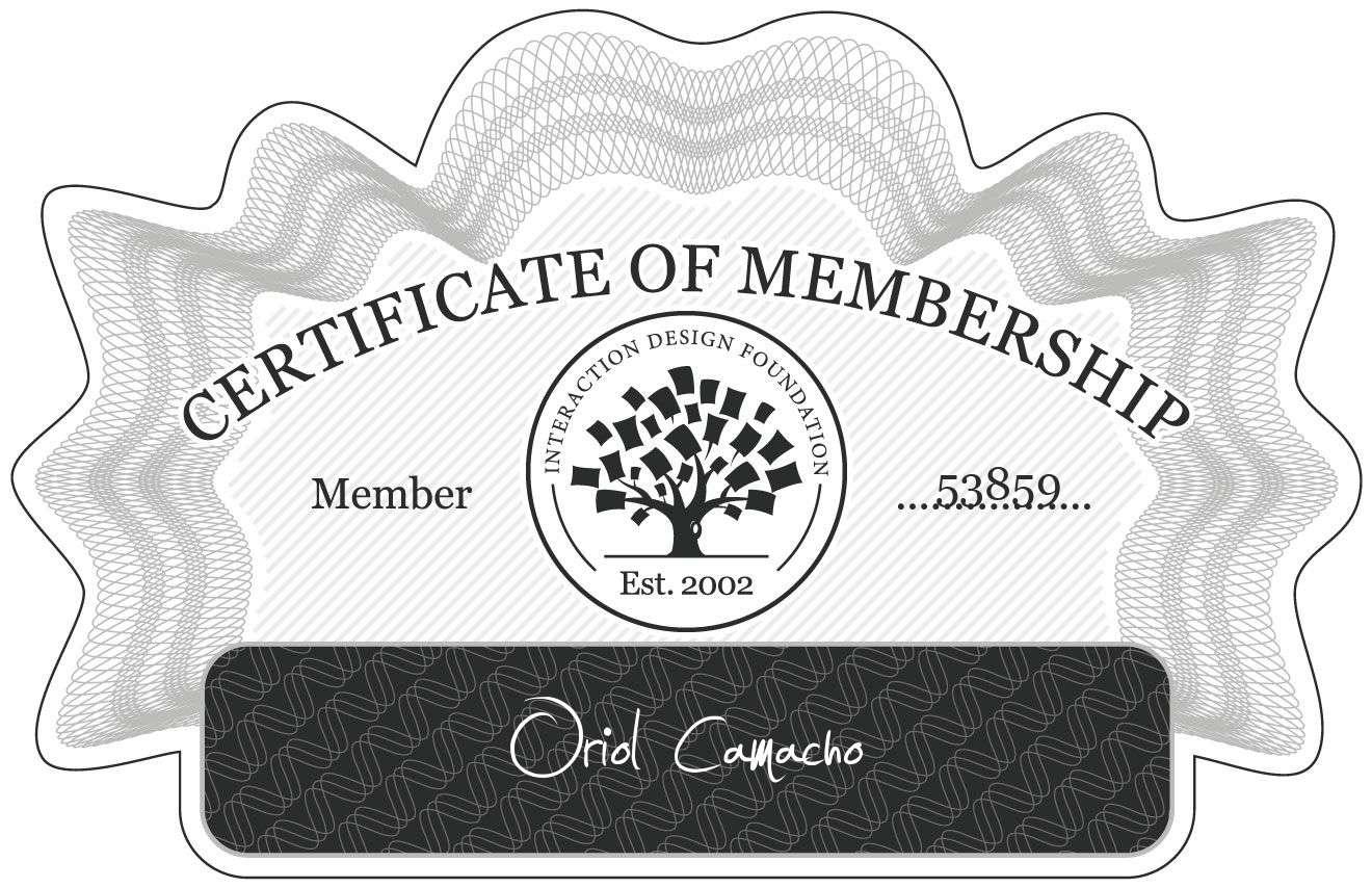 Oriol Camacho: Certificate of Membership