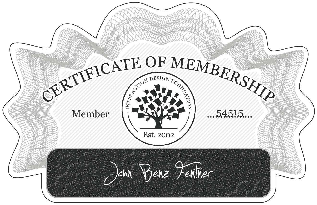 John Benz Fentner: Certificate of Membership