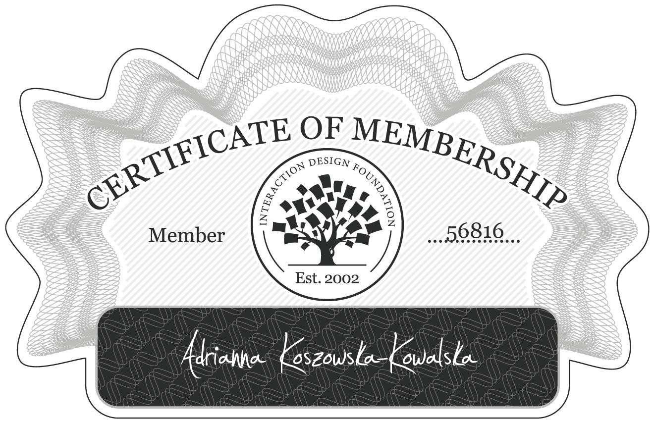 Adrianna Koszowska-Kowalska: Certificate of Membership