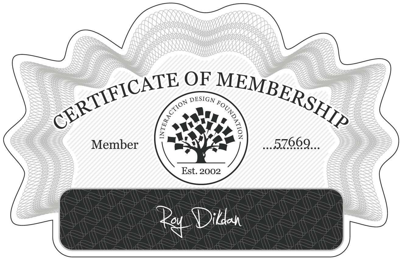 Roy Dikdan: Certificate of Membership