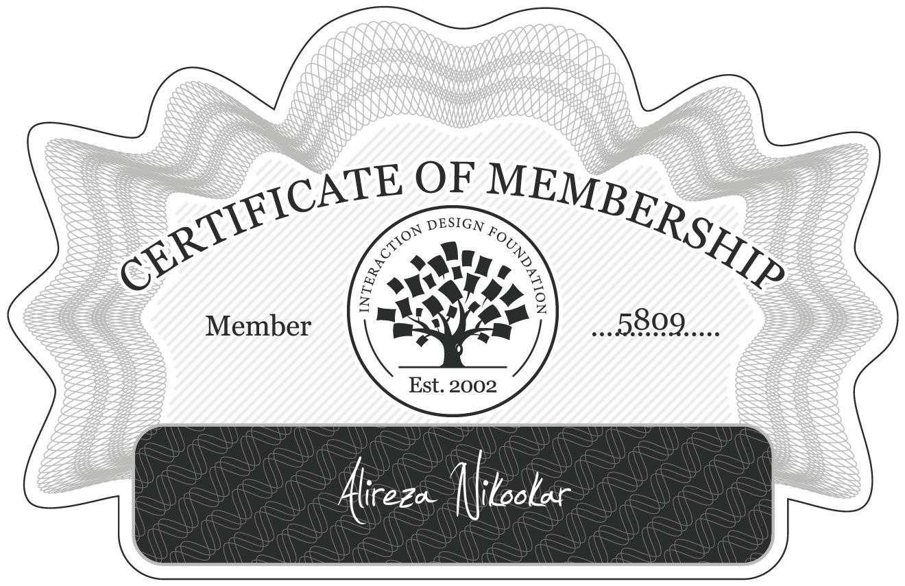 Alireza Nikookar: Certificate of Membership