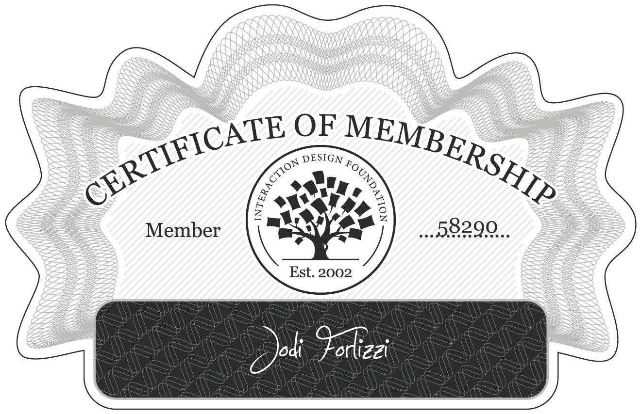 Jodi Forlizzi: Certificate of Membership