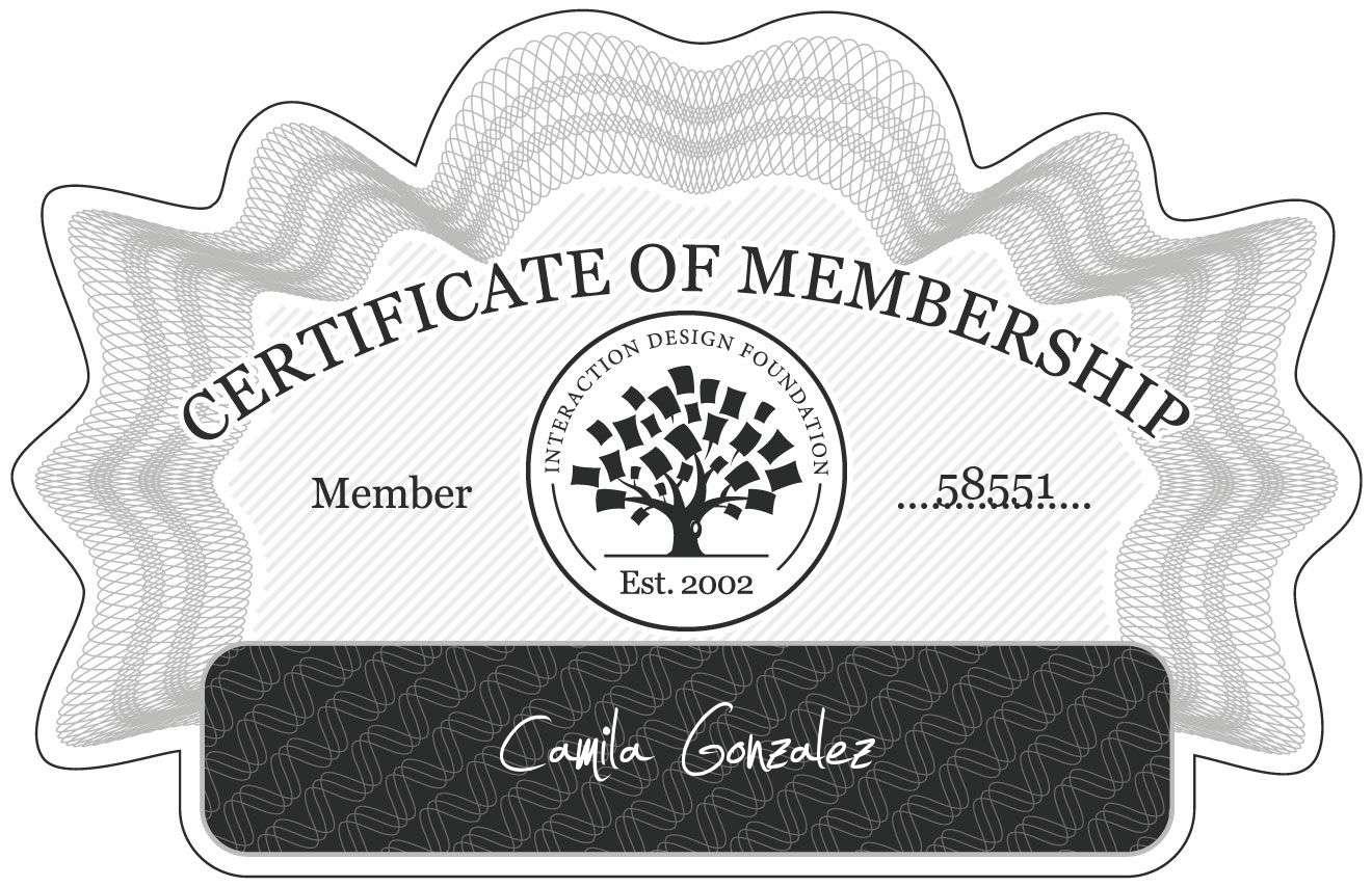 Camila Gonzalez: Certificate of Membership