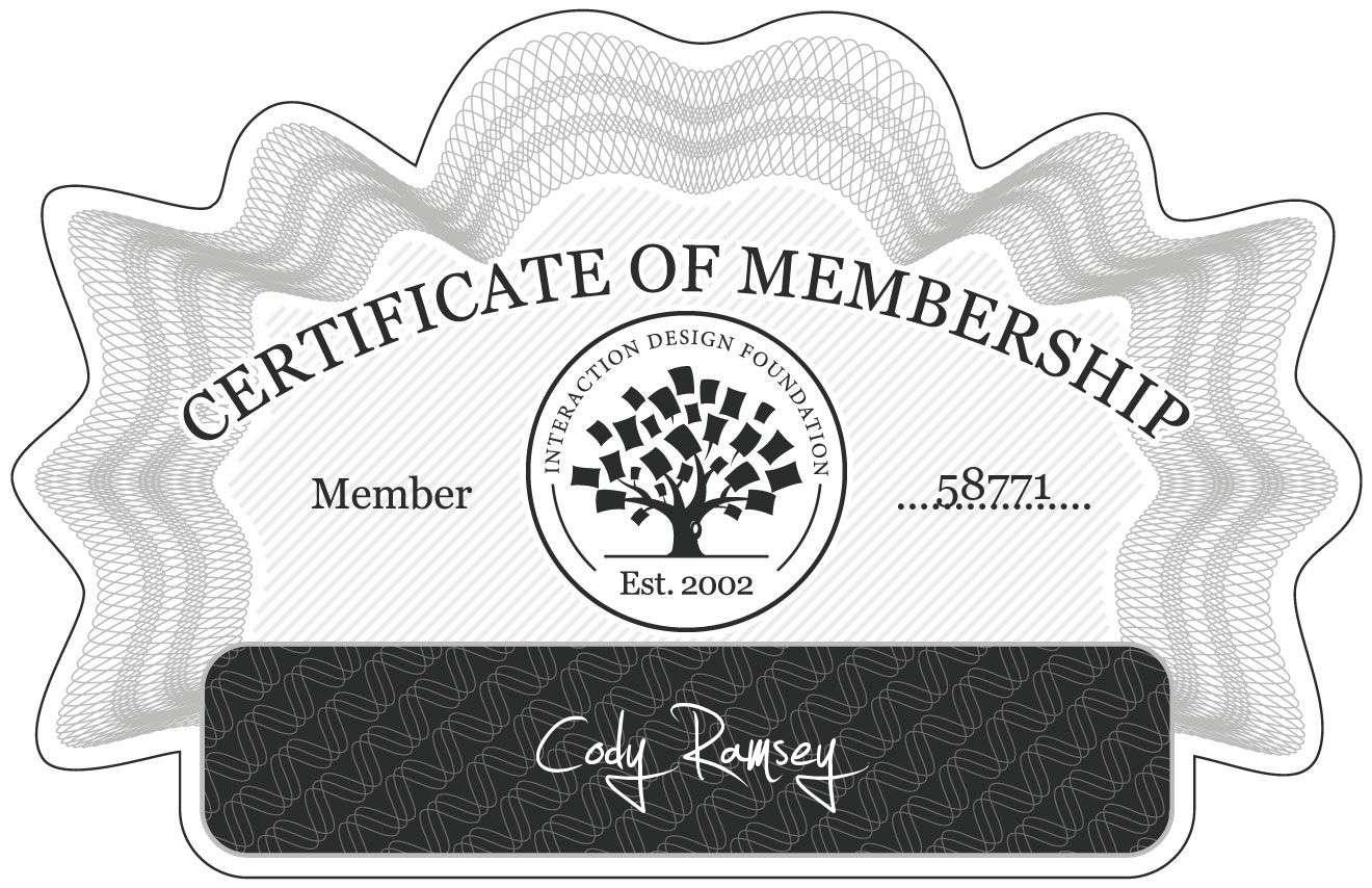Cody Ramsey: Certificate of Membership