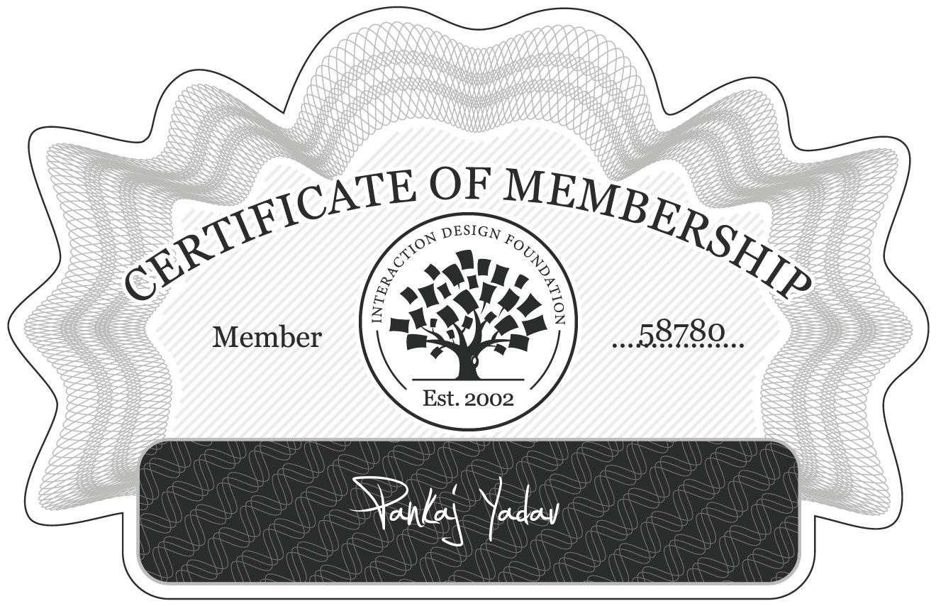 Pankaj Yadav: Certificate of Membership