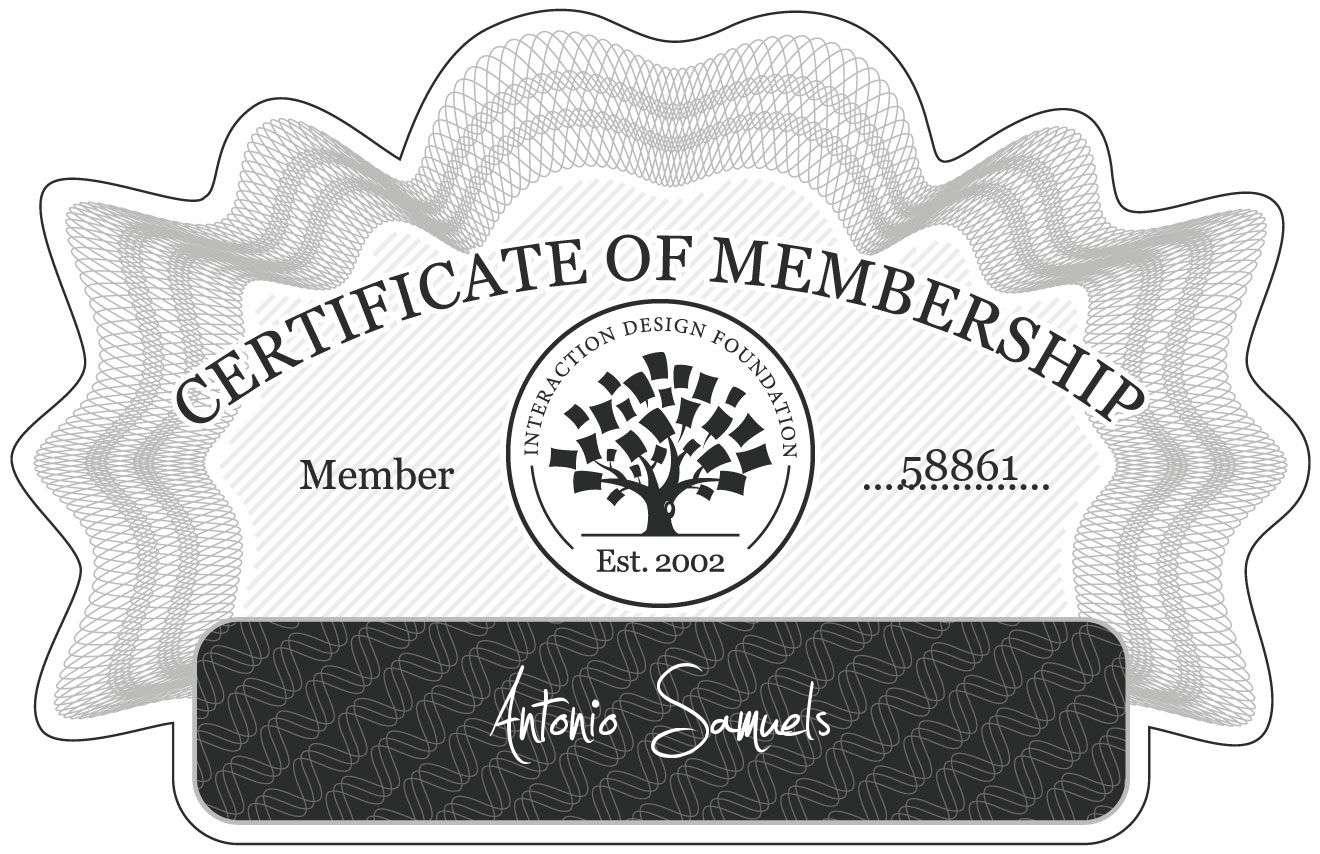 Antonio Samuels: Certificate of Membership