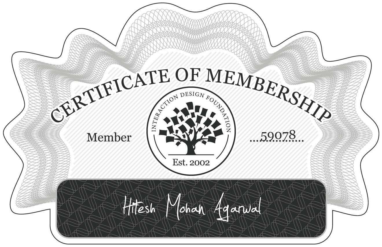 Hitesh Mohan Agarwal: Certificate of Membership