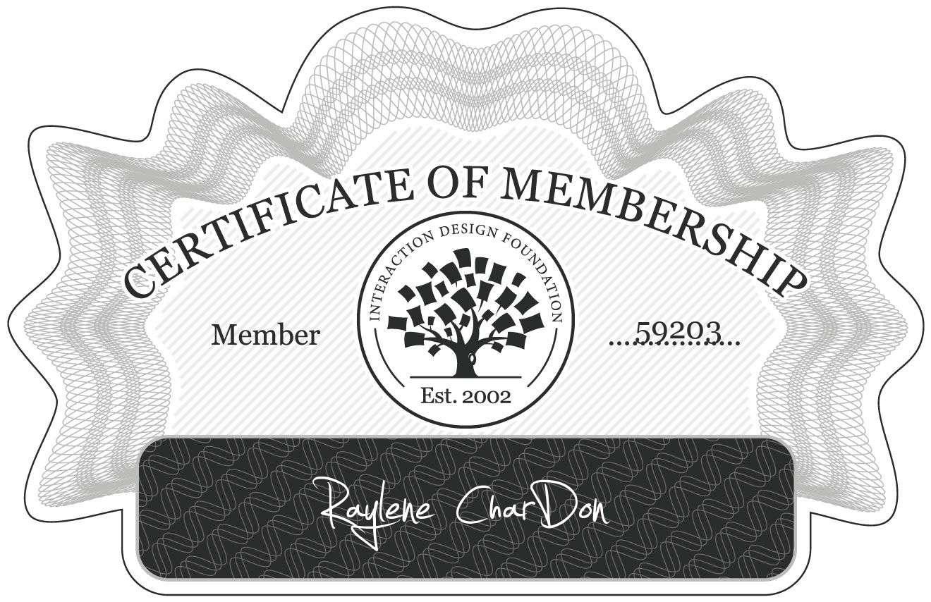 Raylene CharDon: Certificate of Membership