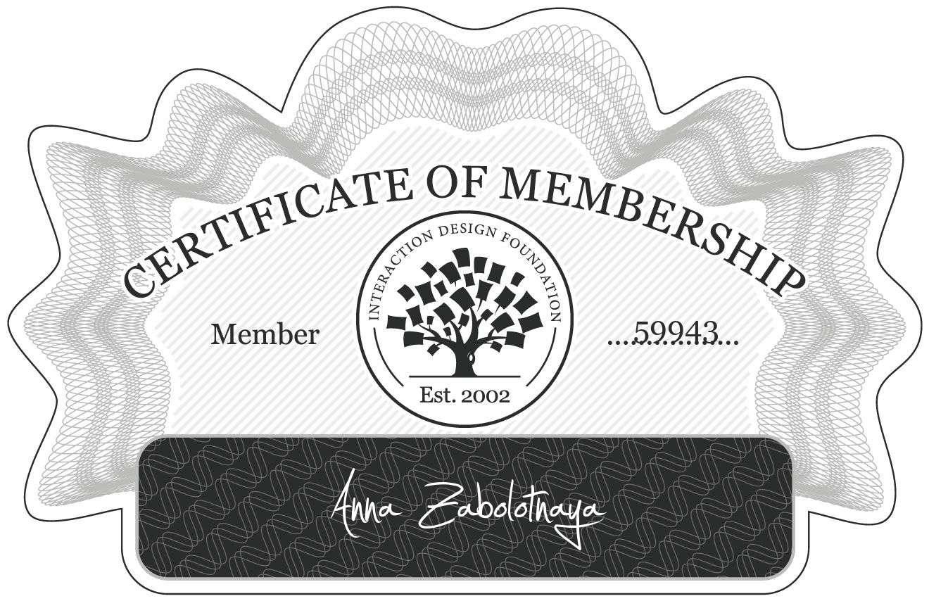 Anna Zabolotnaya: Certificate of Membership