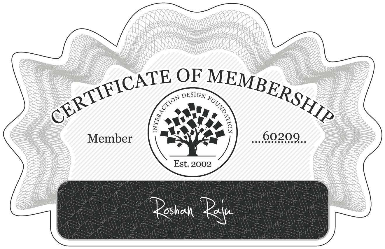 Roshan Raju: Certificate of Membership
