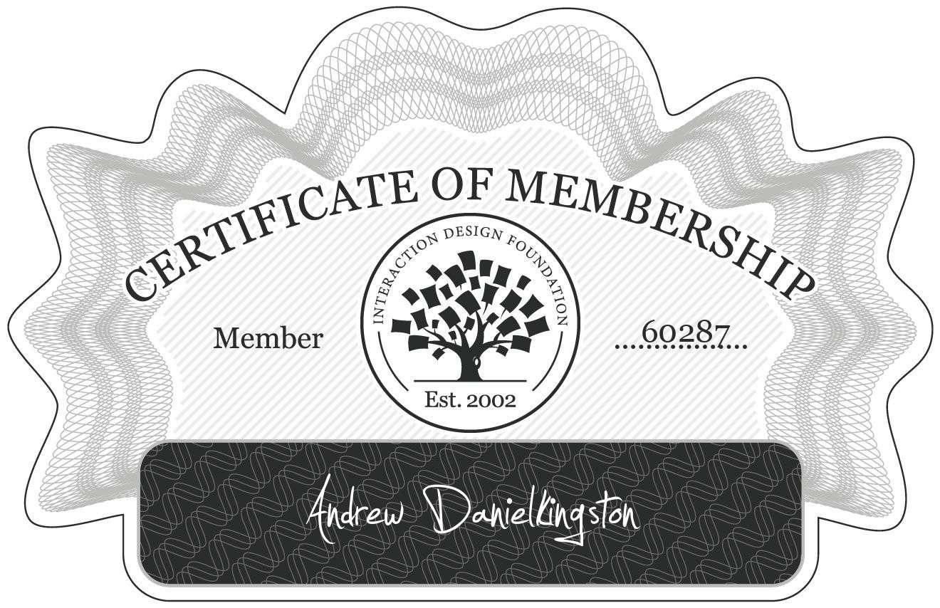 Andrew Danielkingston: Certificate of Membership