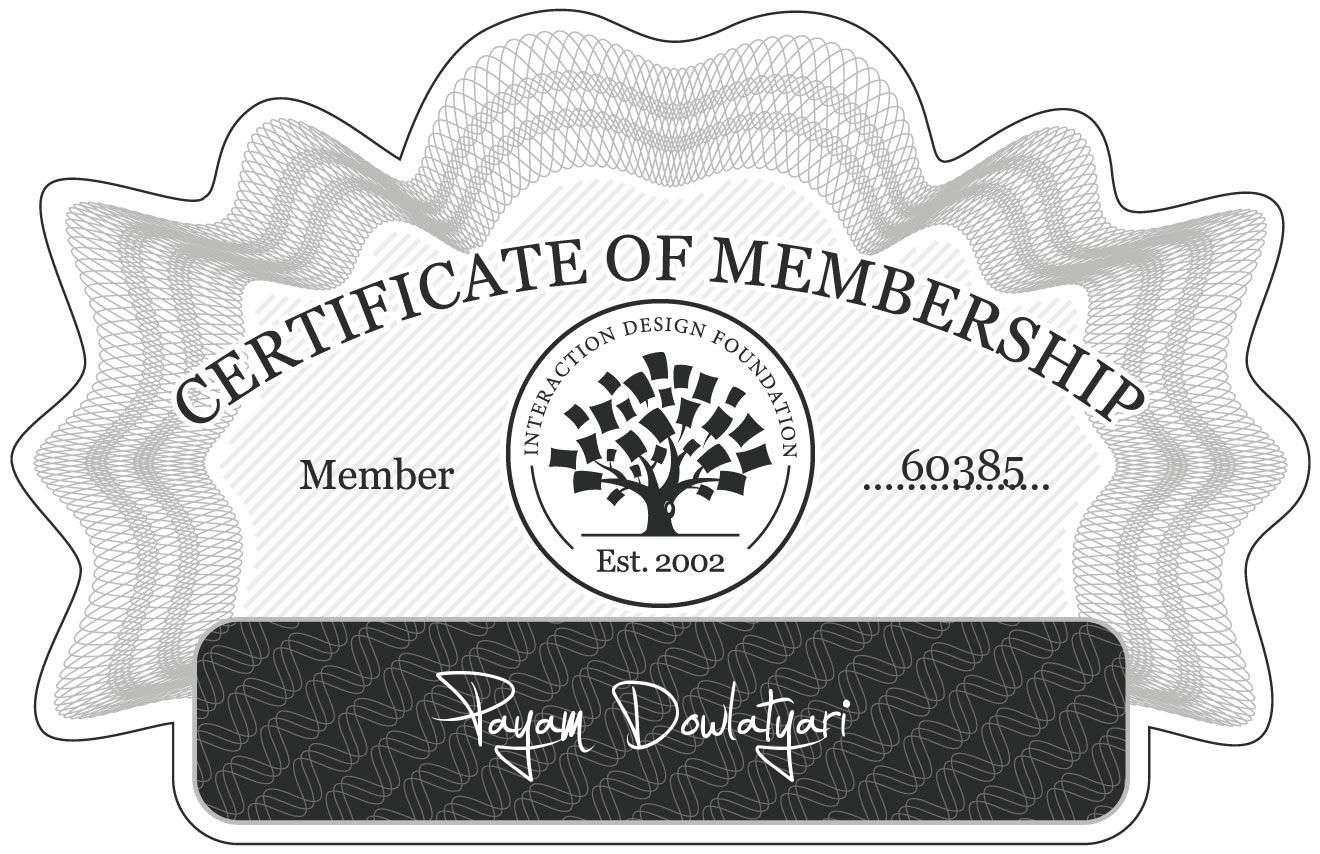 Payam Dowlatyari: Certificate of Membership