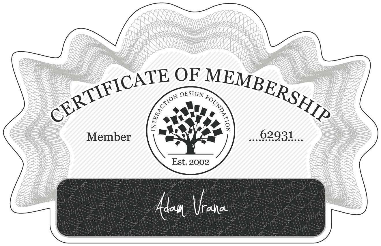 Adam Vrána: Certificate of Membership