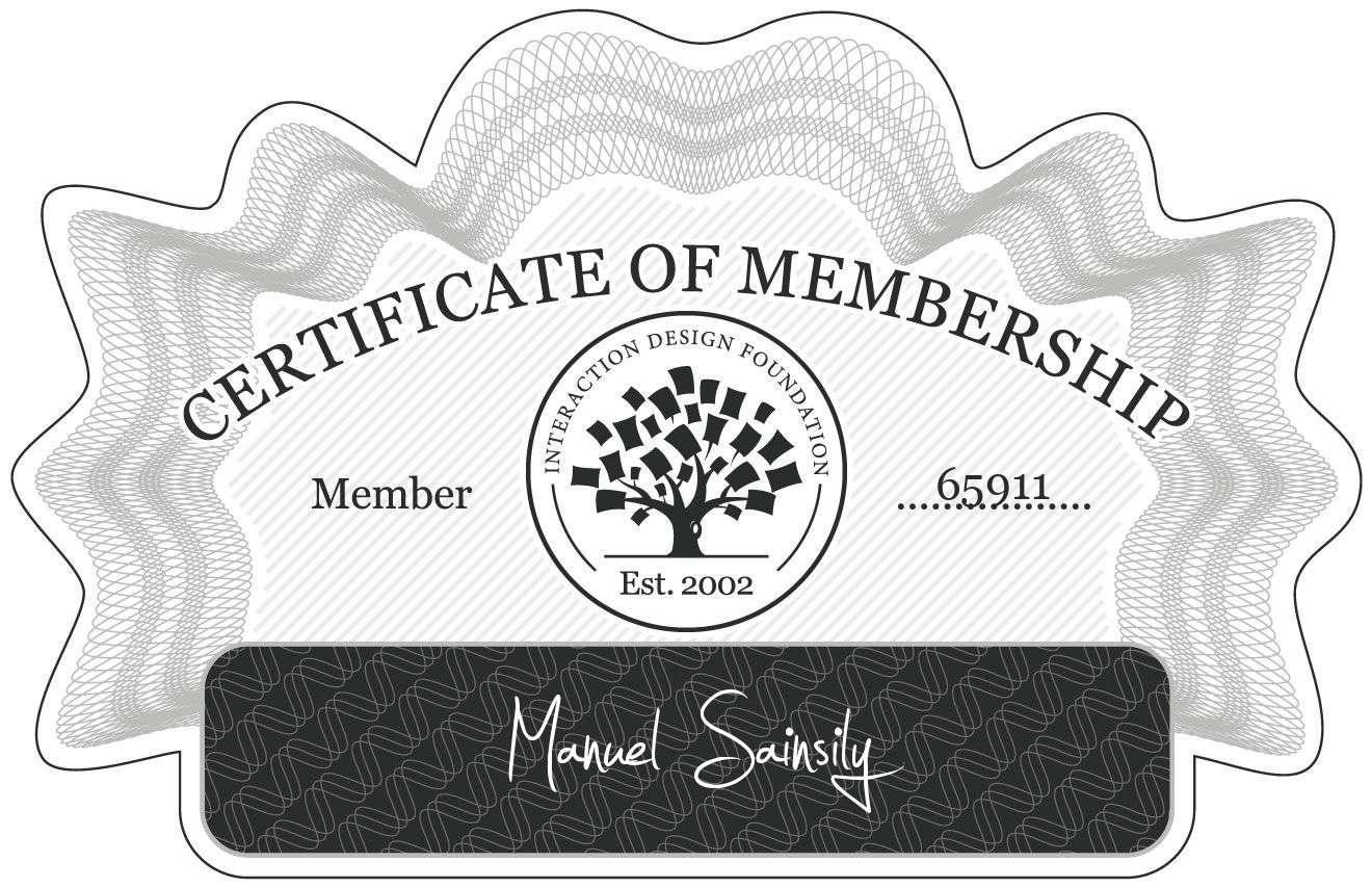 Manuel Sainsily: Certificate of Membership