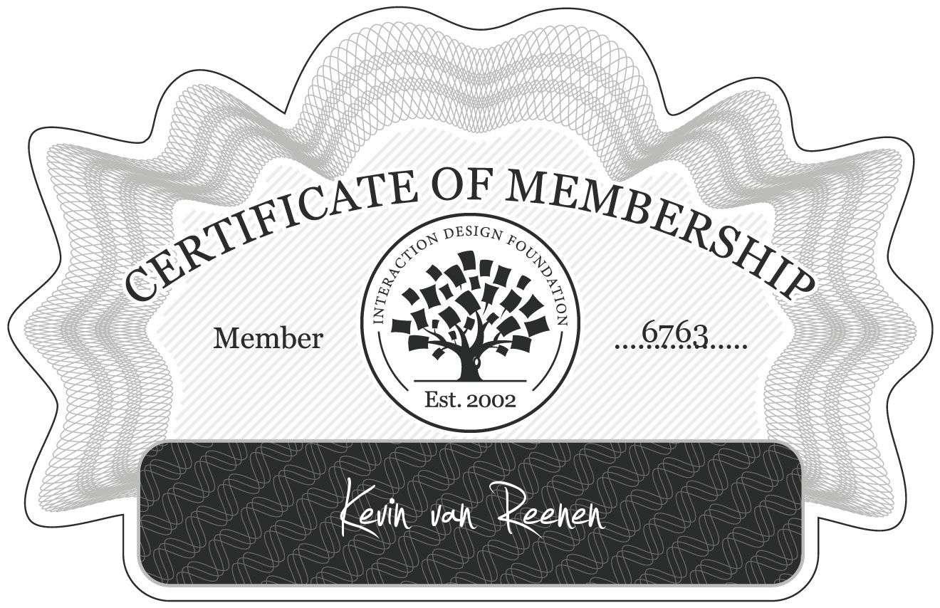 Kevin van Reenen: Certificate of Membership
