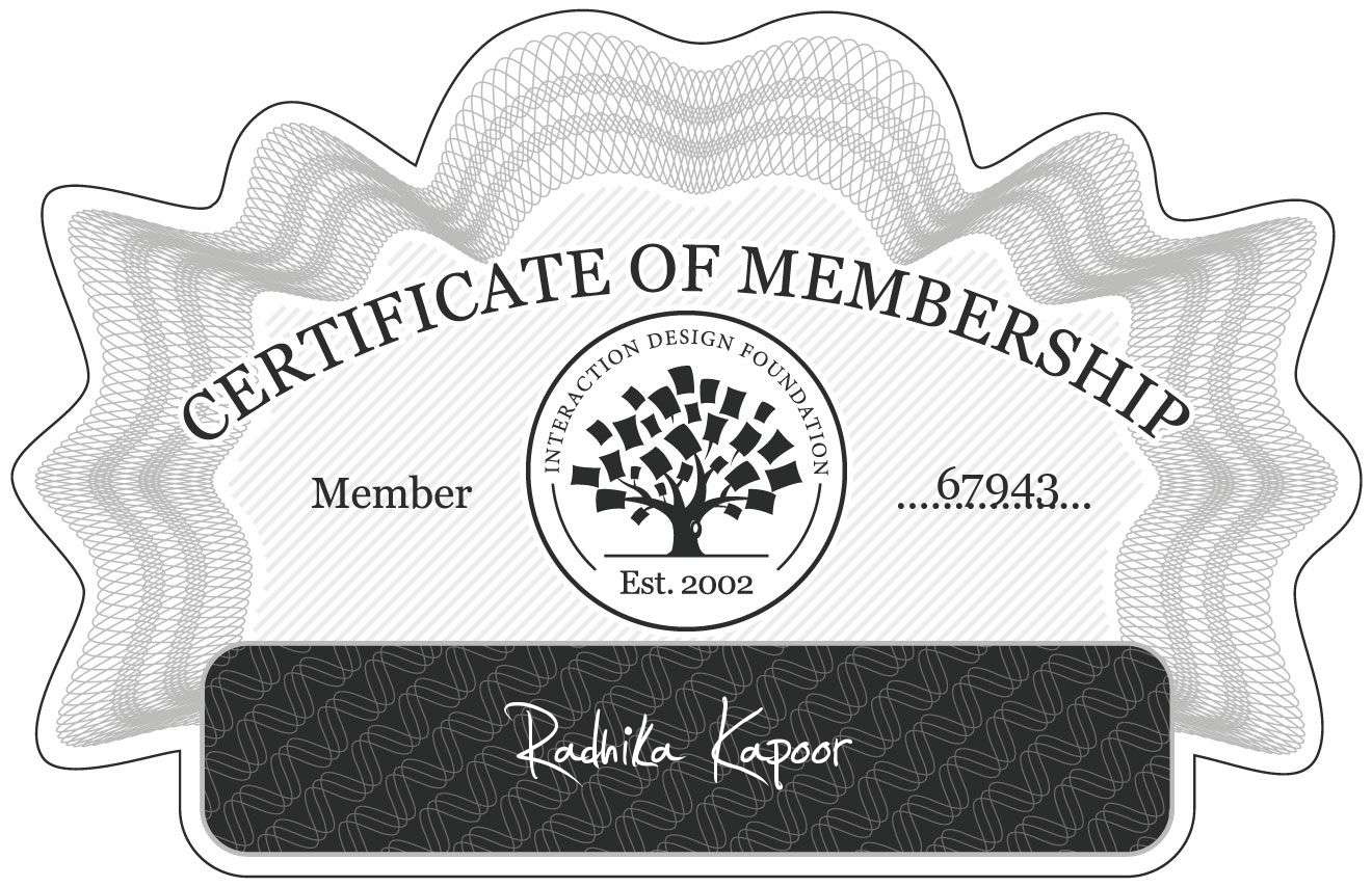 Radhika Kapoor: Certificate of Membership