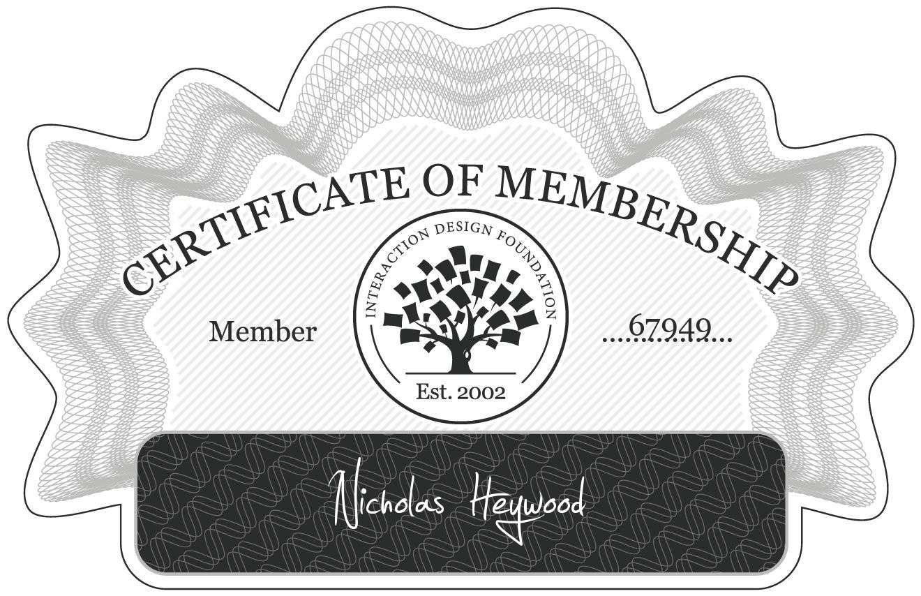Nicholas Heywood: Certificate of Membership