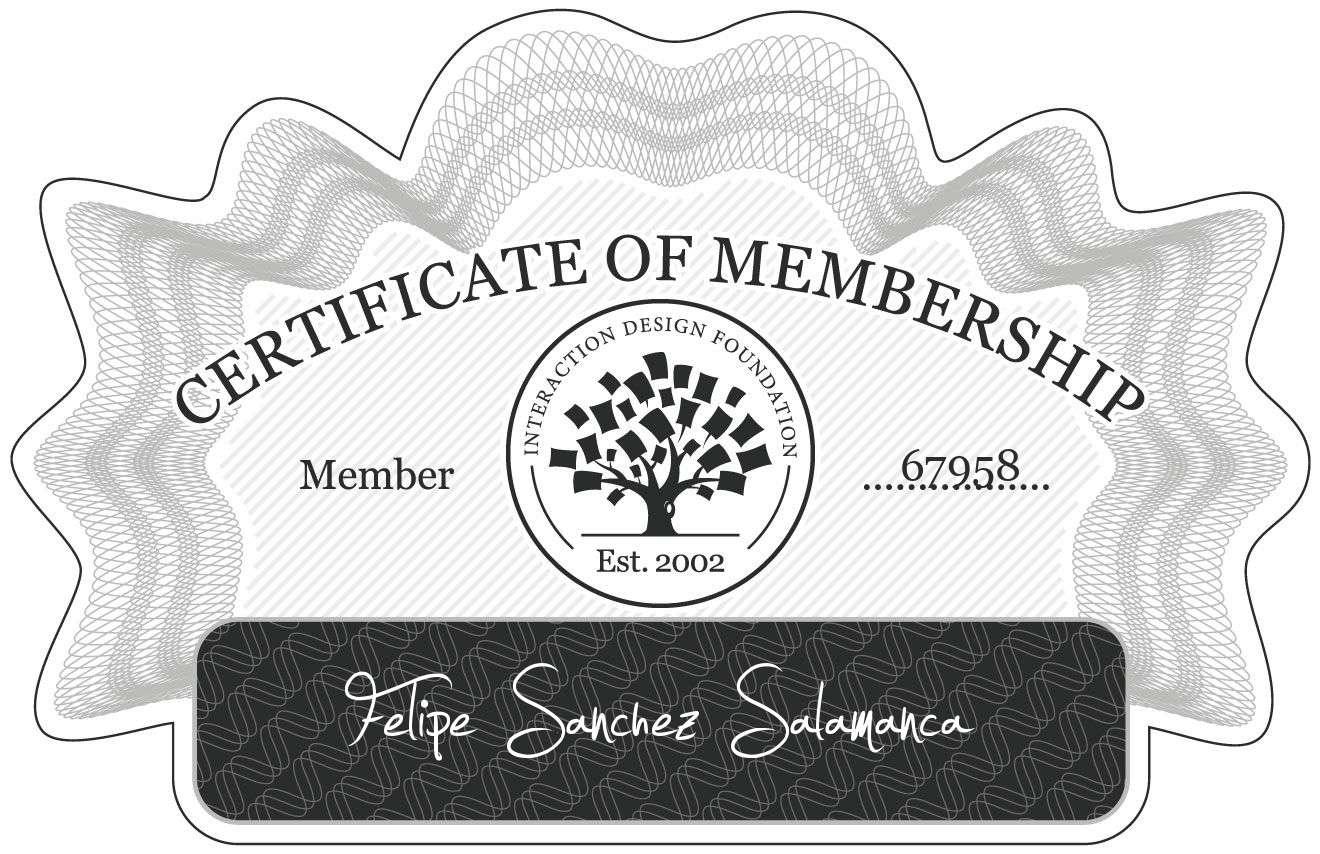 Felipe Sánchez Salamanca: Certificate of Membership