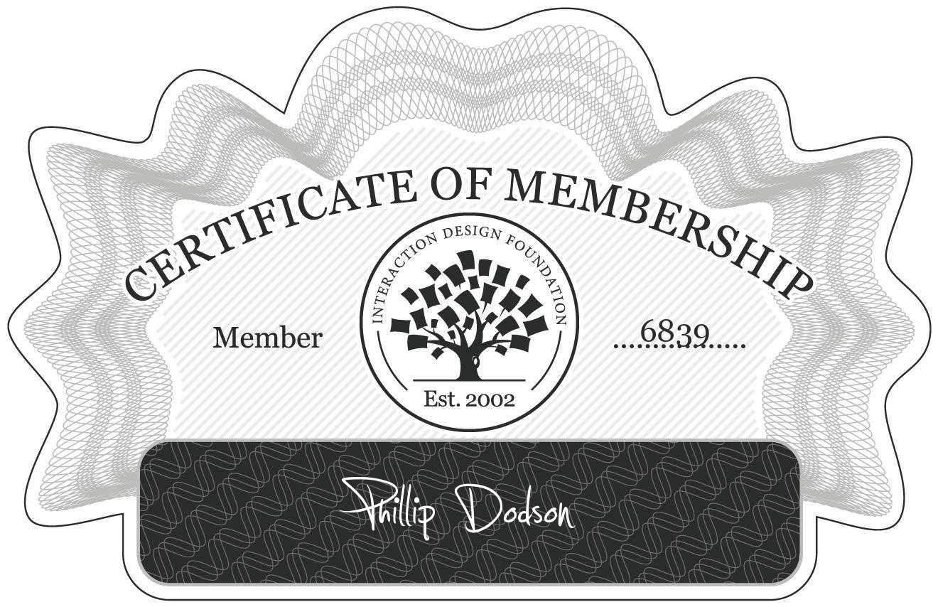 Phillip Dodson: Certificate of Membership