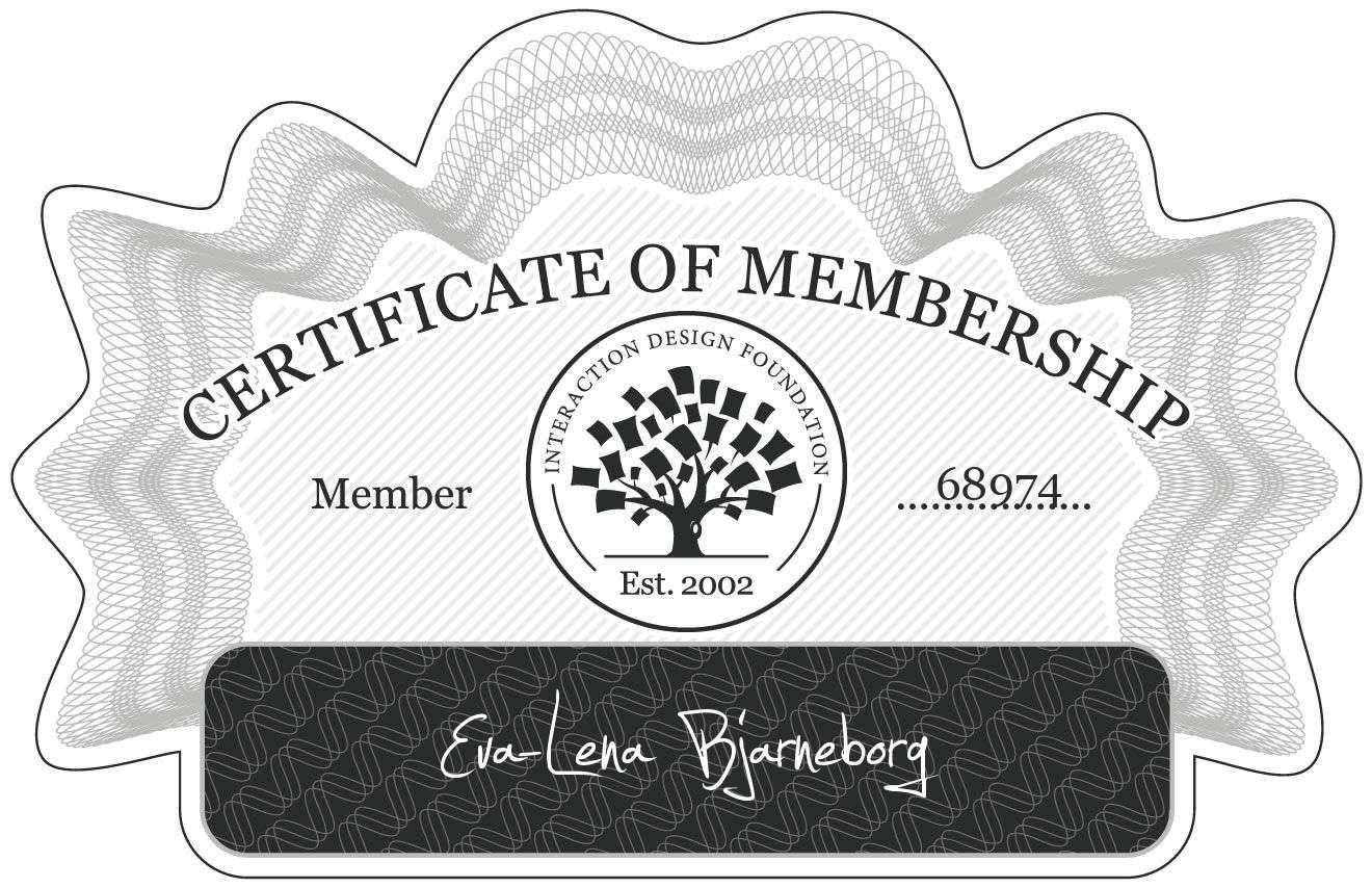 Eva-Lena Bjarneborg: Certificate of Membership