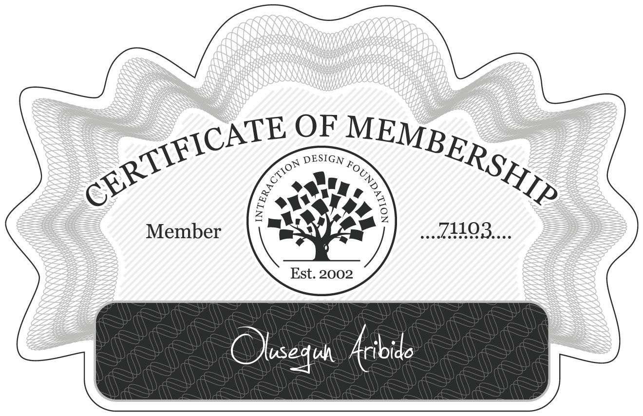 Olusegun Aribido: Certificate of Membership