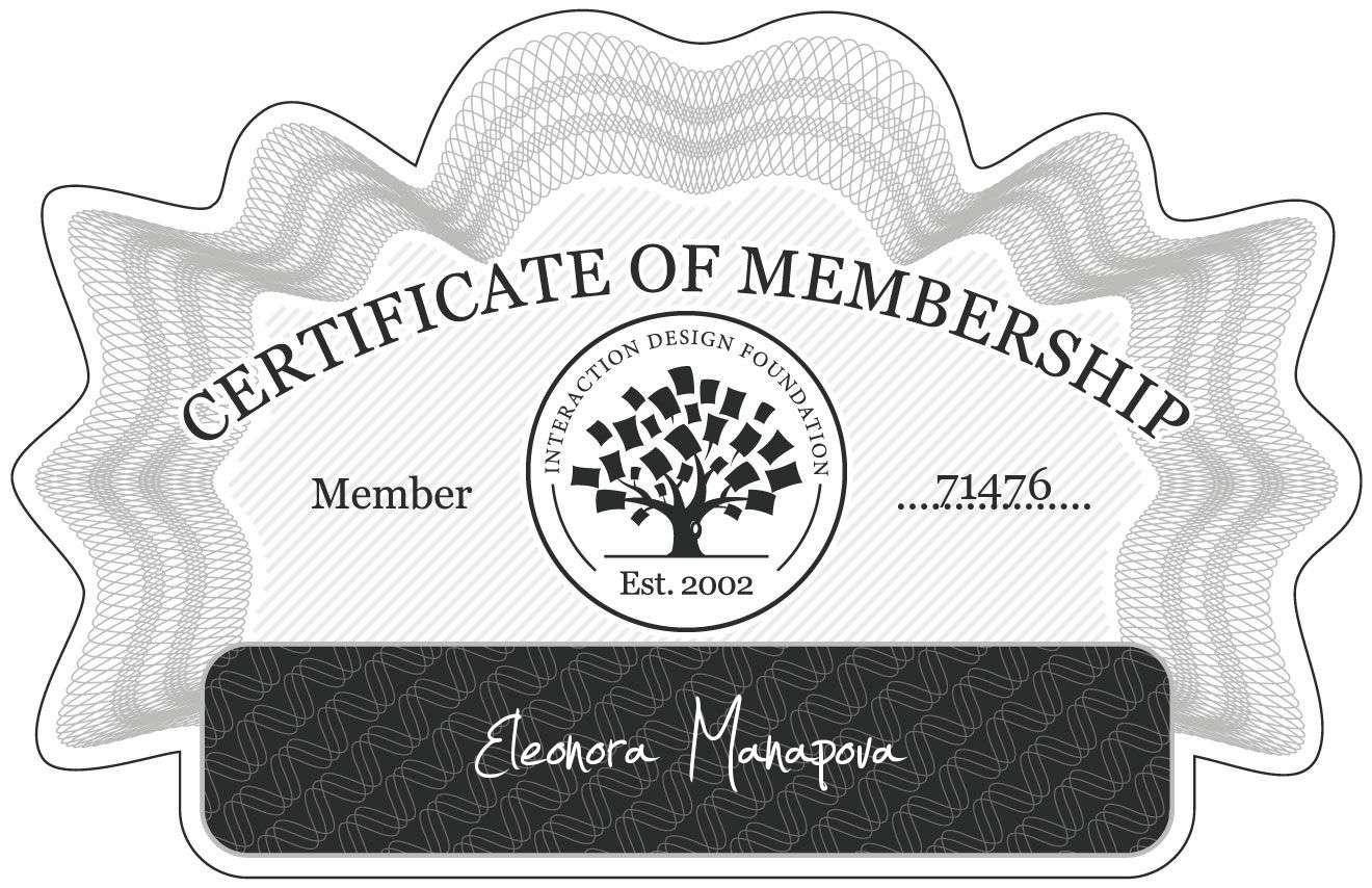 Eleonora Manapova: Certificate of Membership
