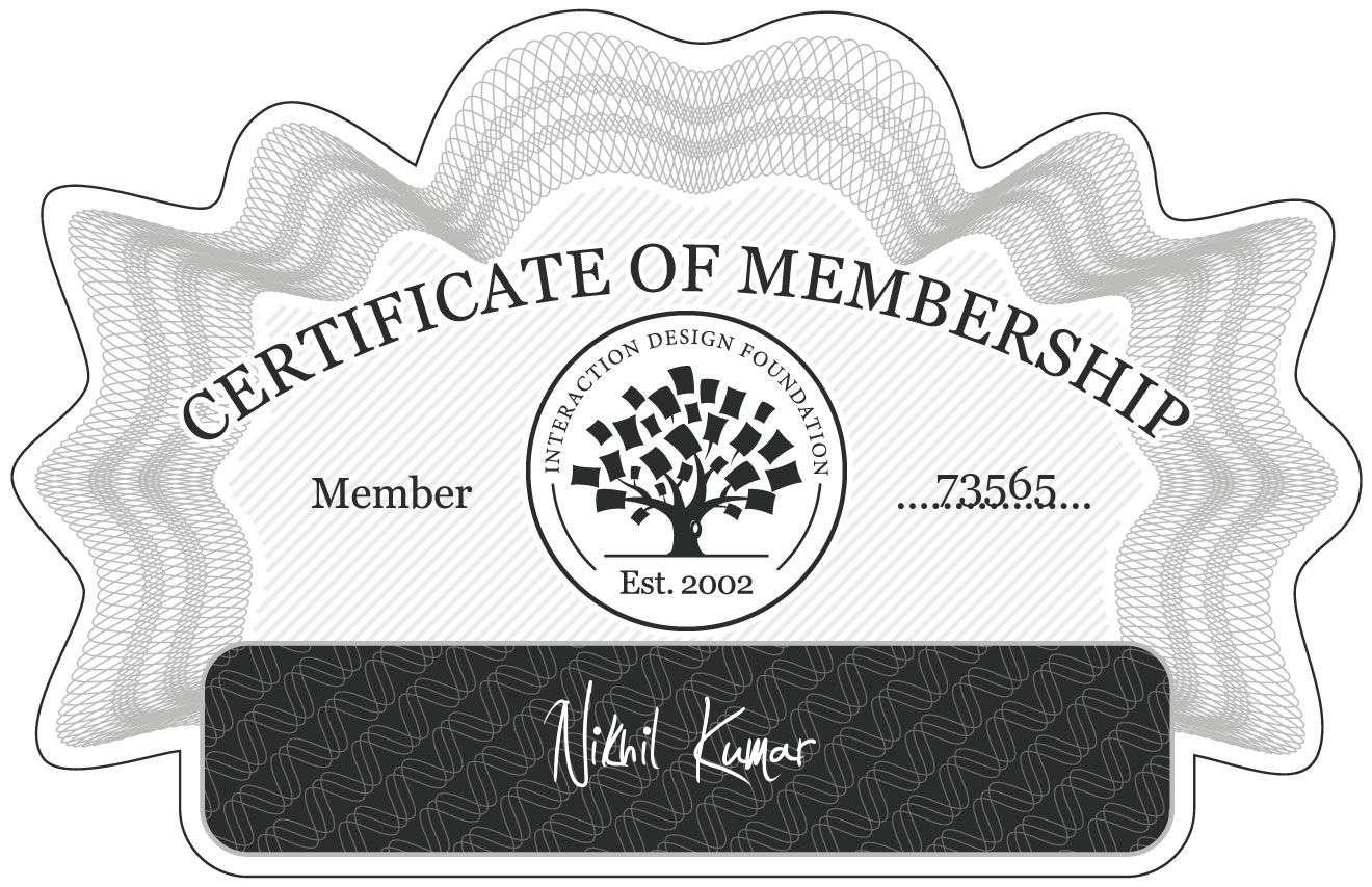 Nikhil Kumar: Certificate of Membership