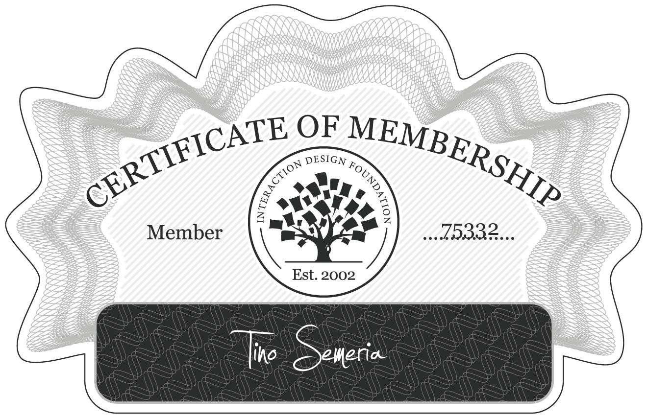 Tino Semeria: Certificate of Membership