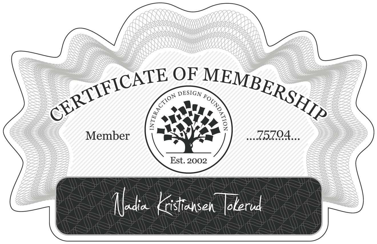 Nadia Kristiansen Tokerud: Certificate of Membership