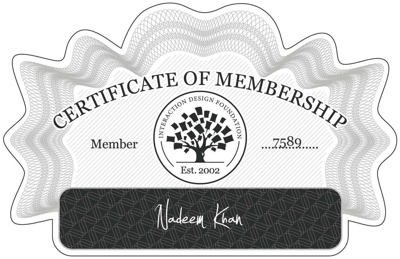 Nadeem Khan: Certificate of Membership