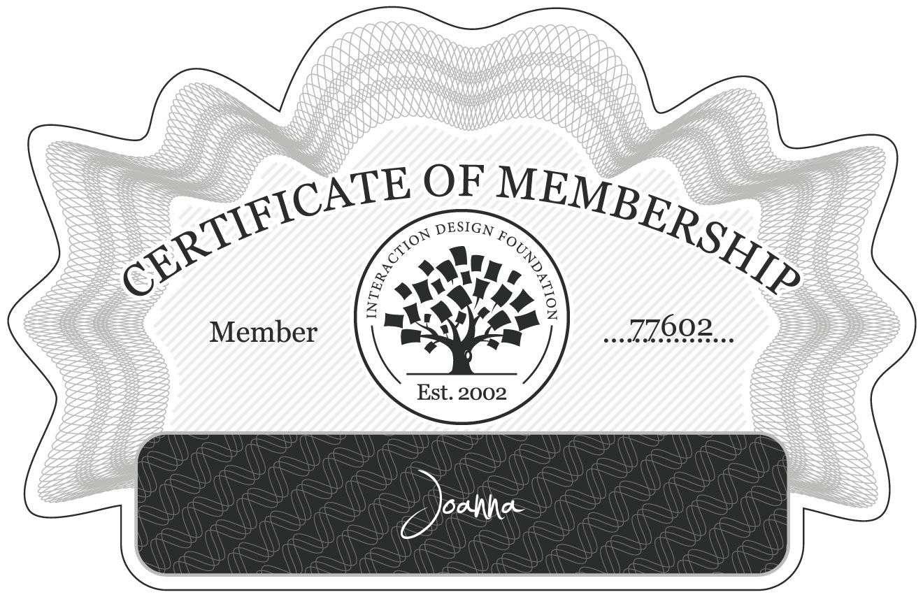 Joanna: Certificate of Membership