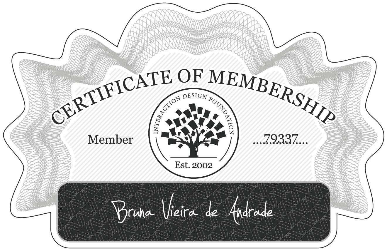 Bruna Vieira de Andrade: Certificate of Membership