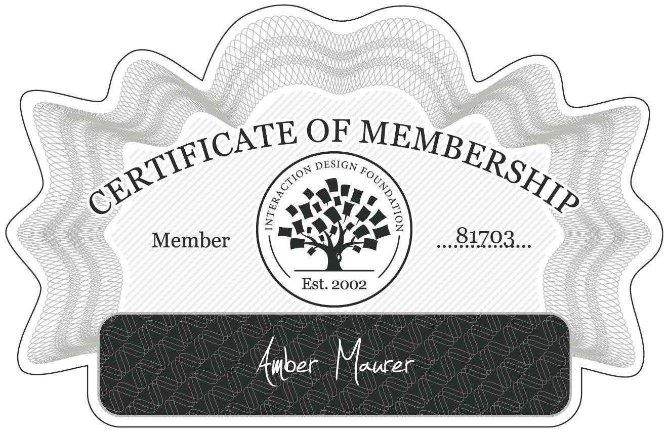 Amber Maurer: Certificate of Membership