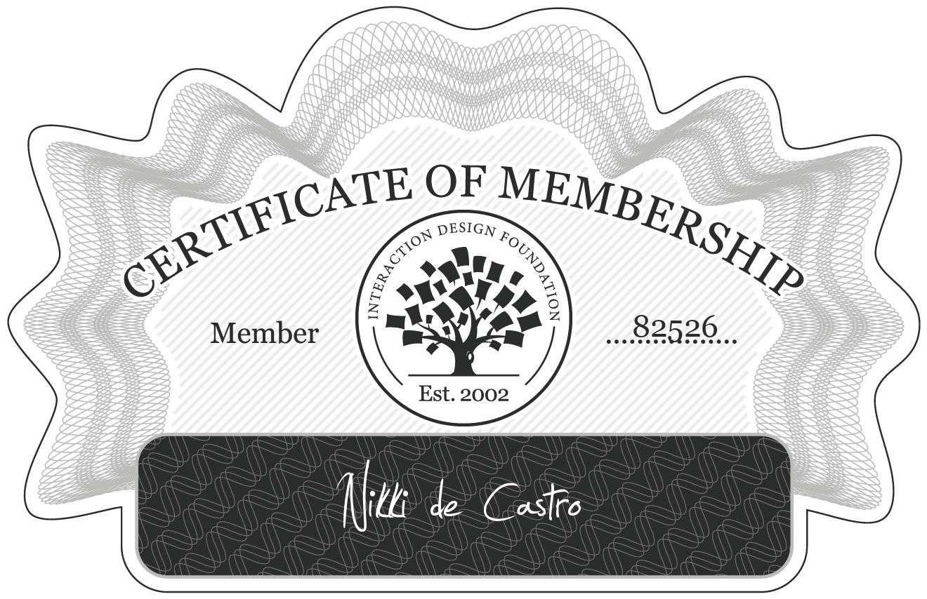 Nikki de Castro: Certificate of Membership