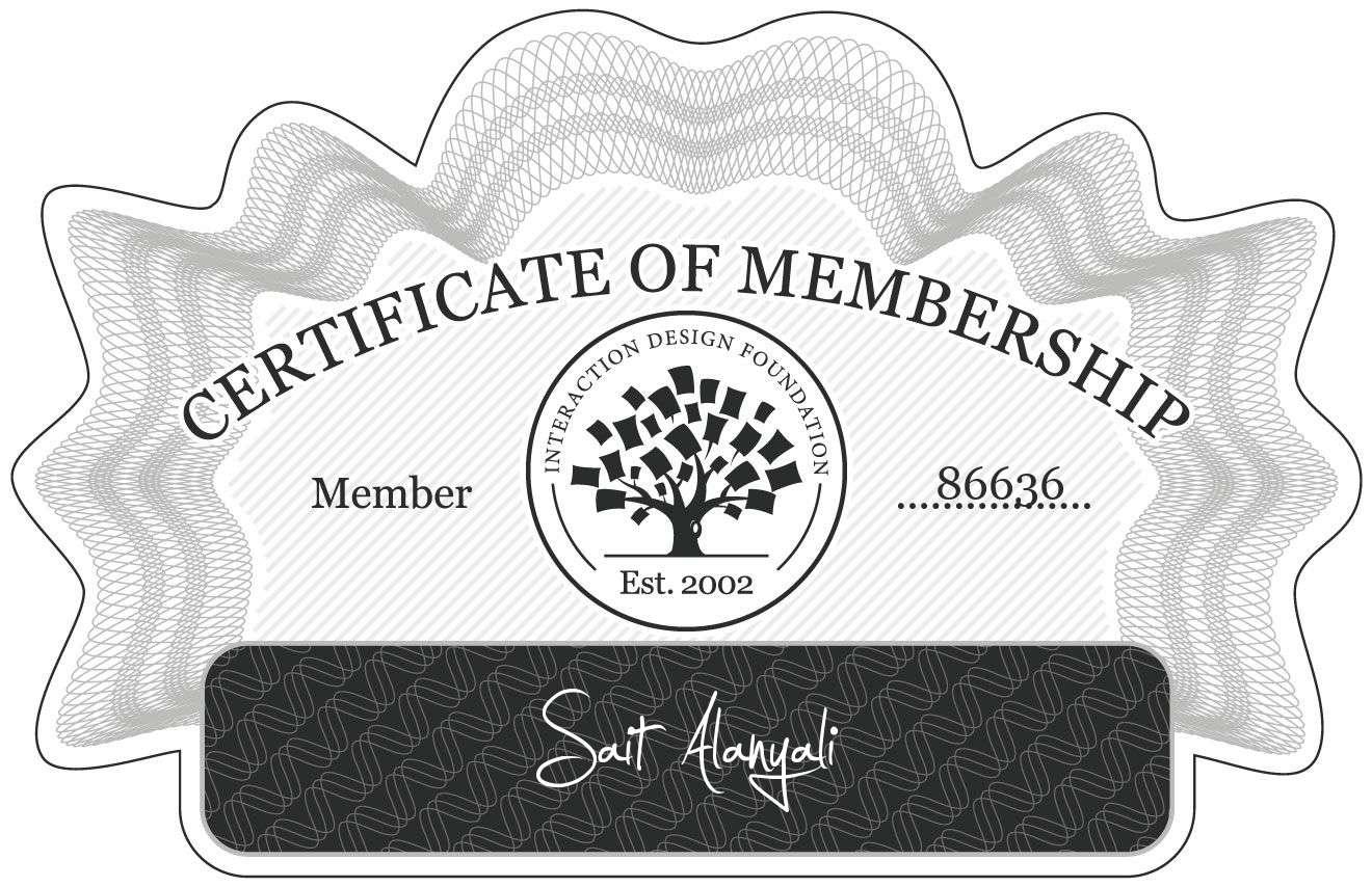 Sait Alanyali: Certificate of Membership