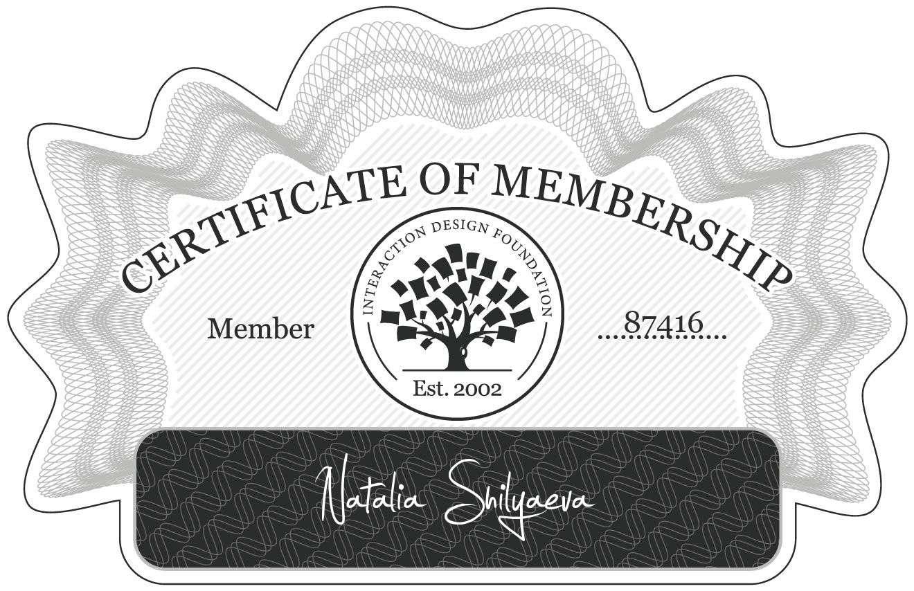 Natalia Shilyaeva: Certificate of Membership