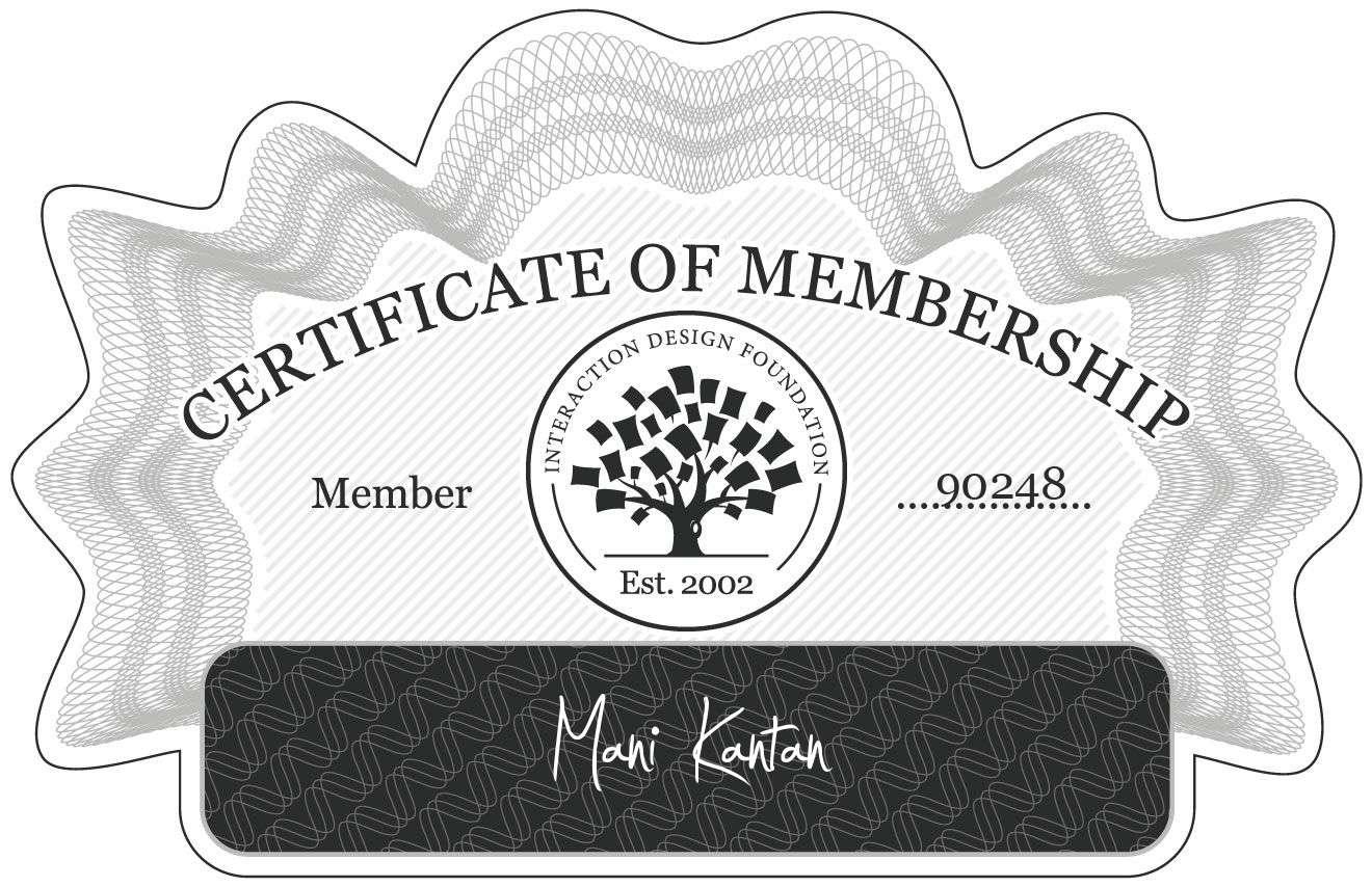 Mani Kantan: Certificate of Membership