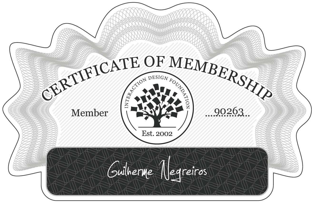 Guilherme Negreiros: Certificate of Membership