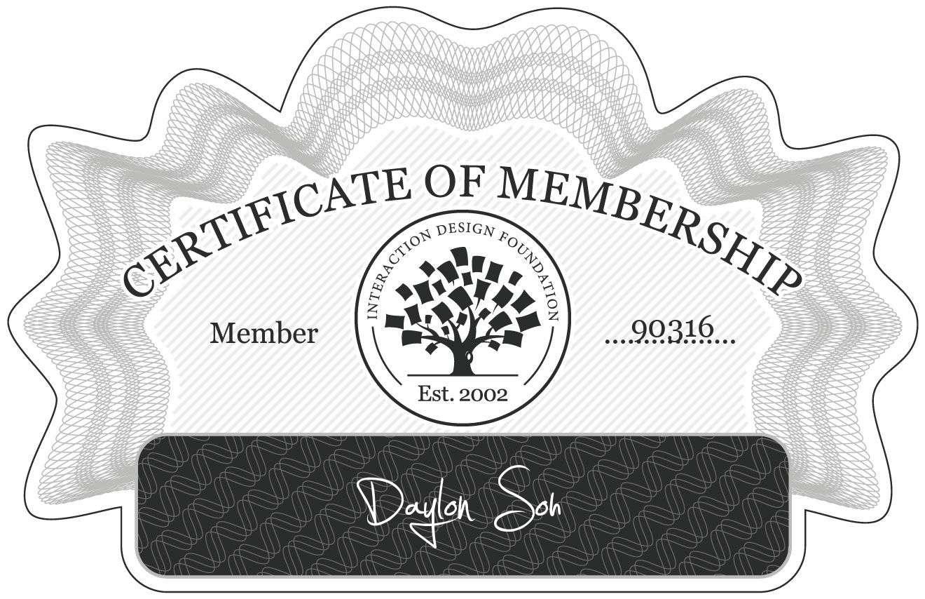 Daylon Soh: Certificate of Membership