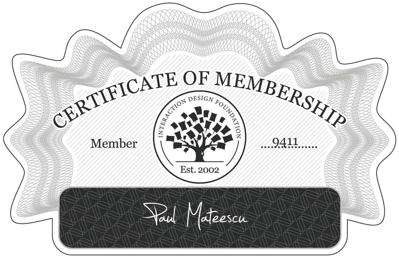 Paul Mateescu: Certificate of Membership