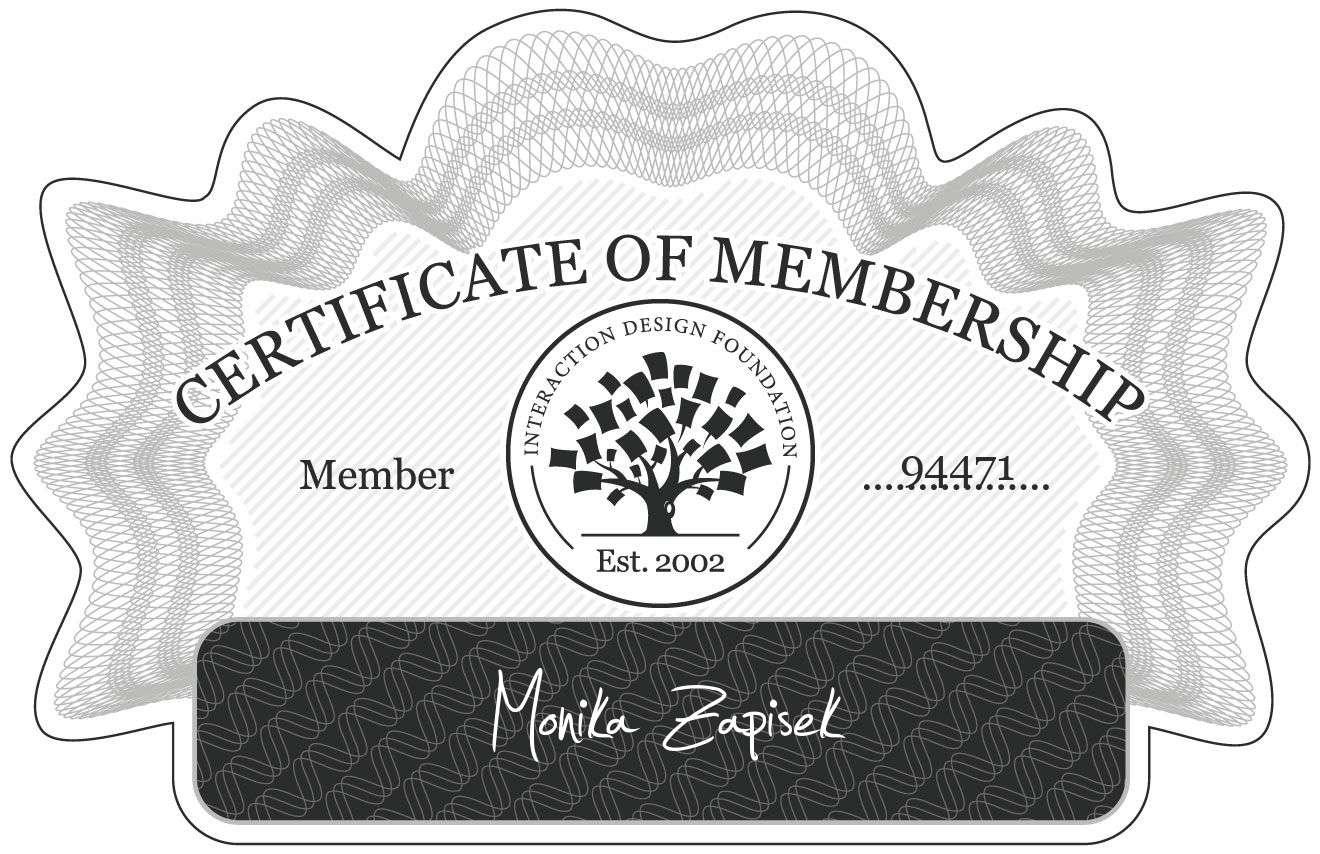 Monika Zapisek: Certificate of Membership